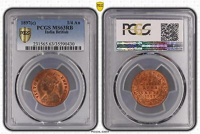 1897c MS63RB India British 1/4 An PCGS GRADED Ch UNC