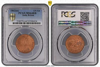 1862m MS64RB India British 1/4 An PCGS GRADED Ch UNC