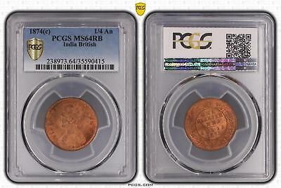 1874c MS64RB India British 1/4 An PCGS GRADED Ch UNC