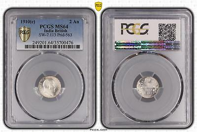 1910c MS64 India British 2 An PCGS GRADED Ch UNC