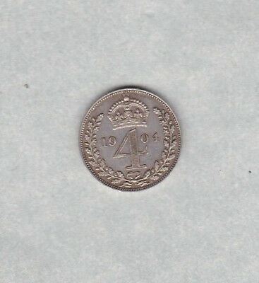 1904 Edward Vii Maundy Silver Four Pence In Near Extremely Fine Condition