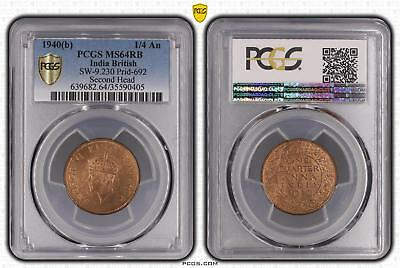 1940b MS64RB India British 1/4 An PCGS GRADED Ch UNC