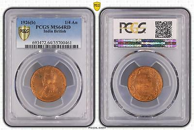 1926b MS64RD India British 1/4 An PCGS GRADED Ch UNC