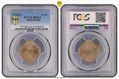 1941c MS64 India British 2 An PCGS GRADED Ch UNC