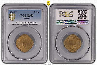 1944b MS64 India British 2 An Small 4 PCGS GRADED Ch UNC