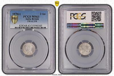 1878c MS63 India British 2 An PCGS GRADED Ch UNC