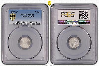 1887-C MS63 India British 2 An PCGS GRADED Ch UNC