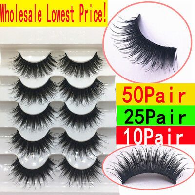 50 Pairs 100% Real Mink 3D Volume Corner Thick False Eyelashes Strip Lashes Lot