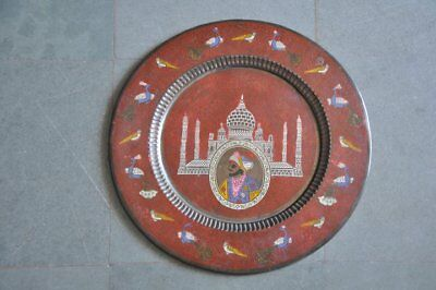 Old Brass Brass Handcrafted Lacquer Tajmahal,Sahjaha&Birds Picture Wall Hanging