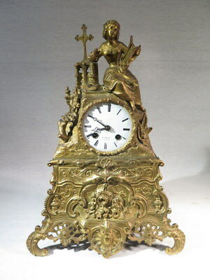 Ancienne Pendule Femme Lyre En Bronze Dore Epoque Second Empire Barbier A Gisors
