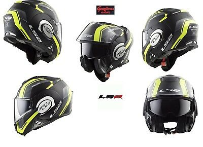 Casco Modulare Flip Up Ls2 Ff399 Valiant Line Matt Black Hi Vis Yellow Taglia L