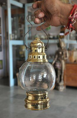 Old Brass Unique Shape Handcrafted Glass Candle Lamp , Collectible
