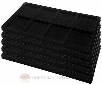 5 Black Insert Tray Liners W/ 8 Compartments Drawer Organizer Jewelry Displays