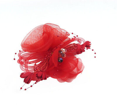 Red Net Mesh Fascinator Headdress Flower Brooch Clip Bride Races Cocktail Party