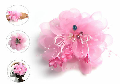 Pink Chiffon&Crystal Fascinator Headdress Brooch For Clip Bride Cocktail Party