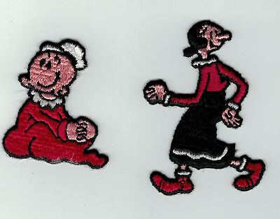 Vintages Popeye Sailor Mans Olive Oyl And Swee Pea  Embroidered Iron-On Patches