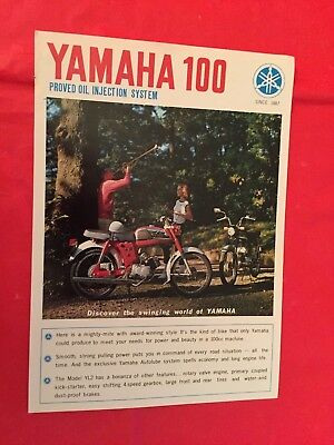 "1967 Yamaha ""YL-2 100cc"" Motorcycle Dealer Sales Brochure"