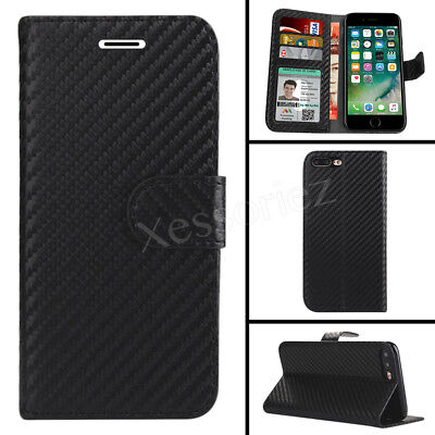 Case For iPhone XR XS 6S 7 8 Plus Carbon Fiber Magntic Flip Wallet Leather Cover