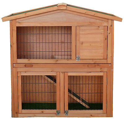 Charles Bentley Two Storey Rabbit Hutch With Play Area