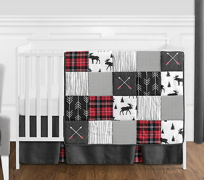 Gray Black Red Woodland Arrow Rustic Patch Baby Boy Bumperless Crib Bedding Set