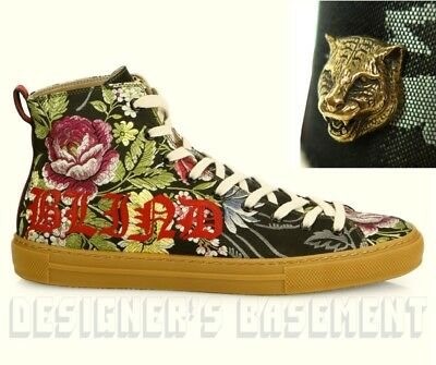 30875343ea5 GUCCI 7G floral BLIND FOR LOVE Angry Cat MAJOR high top Sneakers NIB Authen   820