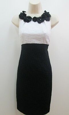 ee468d9b057 Taylor Black White Sleeveless Roselettes Sheath Wedding Cocktail Dress New 2