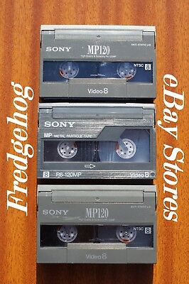 3 x SONY P6-120 (P5-90MP) VIDEO 8 / 8mm & Hi8 VIDEO CAMCORDER TAPES / CASSETTES