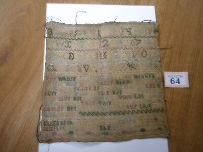 Antique Embroidery Sampler 1766 E Harmsworth