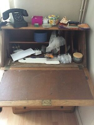Wooden (oak?) Bureau Furniture With Pull Out Desk And Drawers