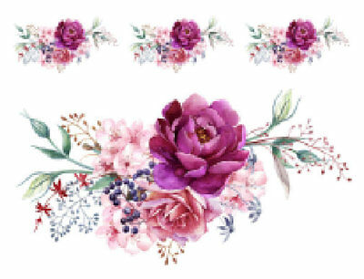 Shabby Watercolor Pastel Peonies Roses Swag Transfers Waterslide Decals FL378