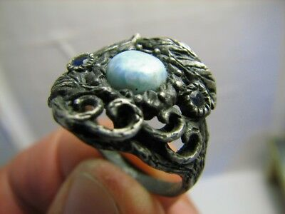 CUSTOM ! VERY NICE OLD  VINTAGE STERLING SILVER RING with STONE(S) #606