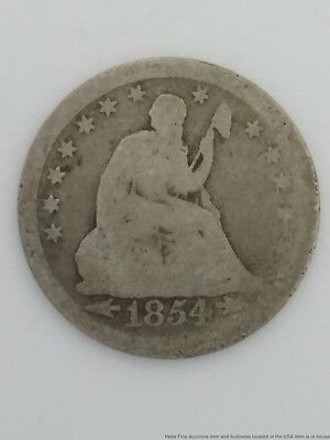1854 Arrows Seated Liberty Silver Quarter Dollar 25 Cent US Coin Philadelphia