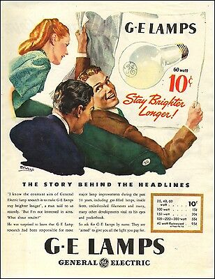 1945 vintage AD G.E. LAMPS LIGHT BULBS , great Illustration! 071617