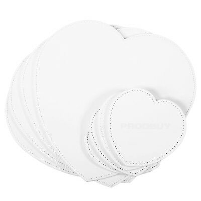 Set of 4 Placemats & Coasters White Faux Leather Heart Table Place Settings Mats