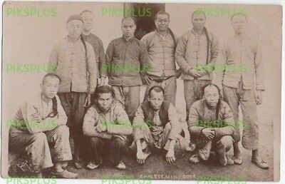 Old Postcard Chinese / China Gold Miners South Africa Real Photo Vintage 1905-10