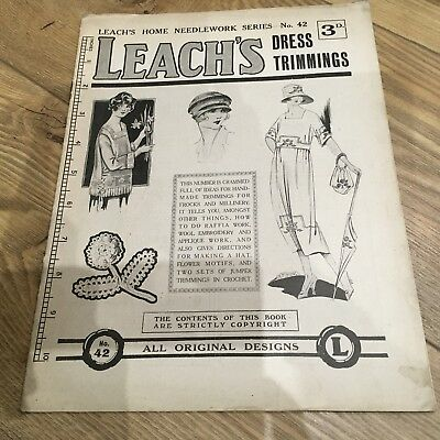 Vintage 1920s Leach's Home Needlework Series Magazine Crochet Trimmings Lace