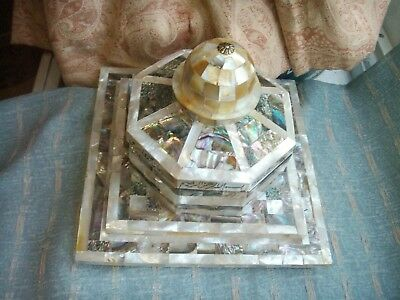 Old Vintage Mother of Pearl Wooden Islamic Trinket Jewel Box Domed Top Moghul