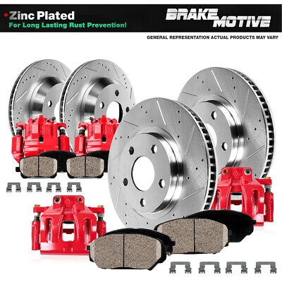 Rear Red Brake Calipers And Rotors Pads For Dodge RAM 2500 3500