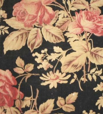 BEAUTIFUL FRAGMENT 19th CENTURY FRENCH LINEN c1870s, roses, REF PROJECTS