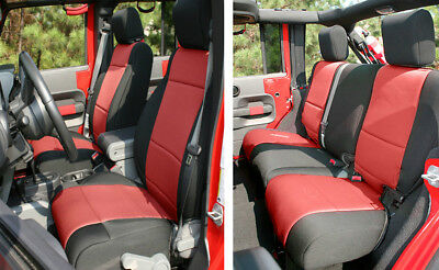 Peachy Front Rear Black Red Neoprene Seat Covers For Jeep Unemploymentrelief Wooden Chair Designs For Living Room Unemploymentrelieforg