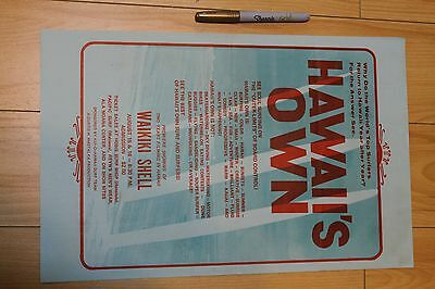 HAWAII'S OWN - Curtis Mastalka Rare 2-sided 11x17in. O.G. 1970's Surfing Poster