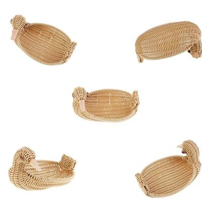 5Pcs Plastic Basket Imitation Rattan Duck Type Handcraft Display Food Basket