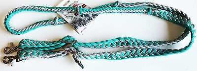 Roping Knotted Horse Tack Western Barrel Reins Nylon Braided Turquoise 607476