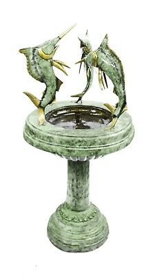 "Cast Bronze Fountain Wildlife 3 Fishes Animal Green Patina 55"" Tall Sculpture"