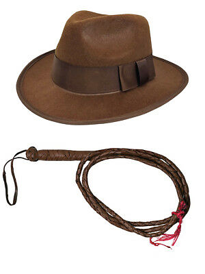 Mens Indiana Jones Accessory Set Hat Fedora 6 Foot Whip Brown One Size Adult