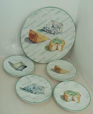 "5 Pc Set Williams-Sonoma Cheese Appetizer Plates With 13"" Serving Platter Unused"