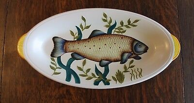 E Radford Pottery Two Handled Oval  Shaped Dish Plate Fish Design