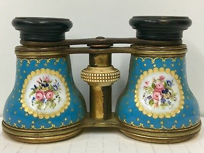Rare 19Th Century Porcelain Blue Enamel Omulu French Opera Glasses Binoculars
