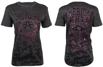 AMERICAN FIGHTER Womens T-Shirt DALTON Athletic BLACK CAMO PINK FOIL Biker $40