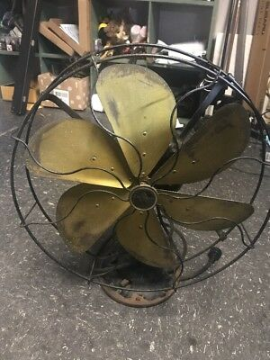 Emerson 16 inch Type 73668 Electric Fan 6 Blade Brass Oscillating Works Perfect